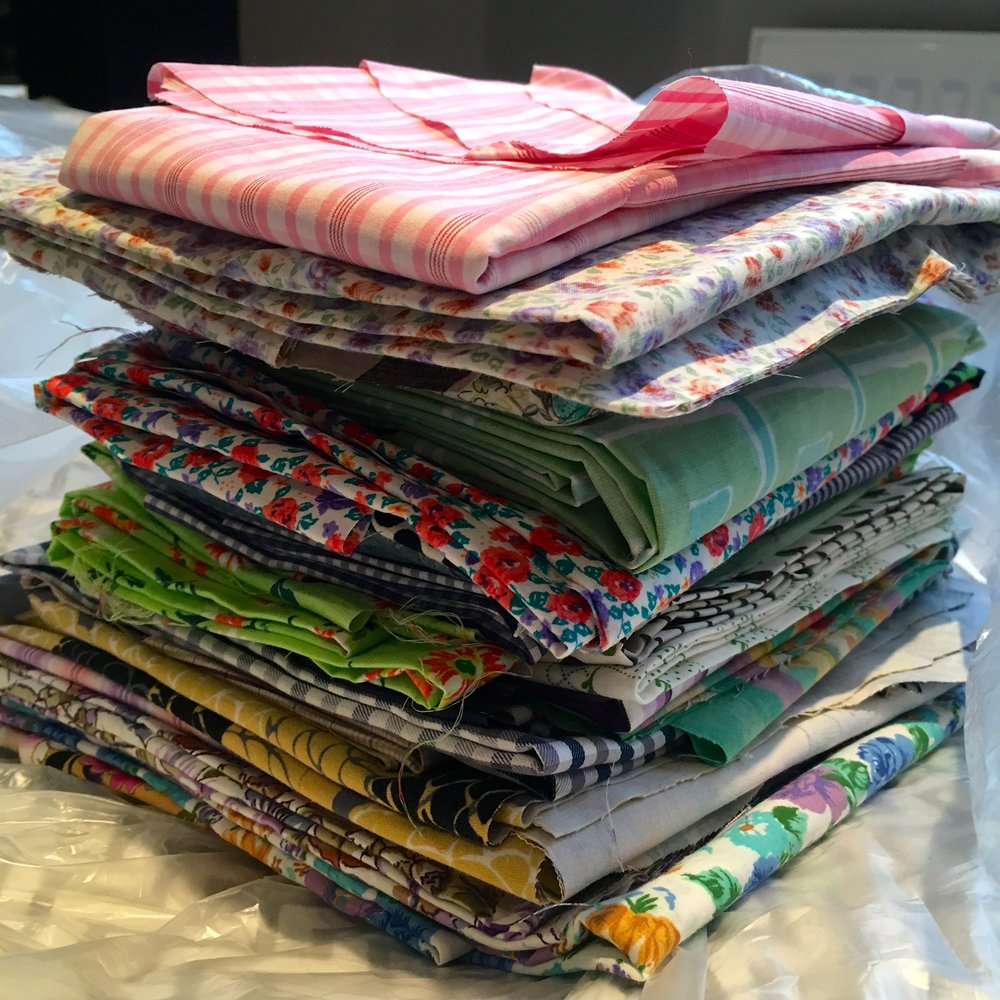 A pile of now ironed fabric