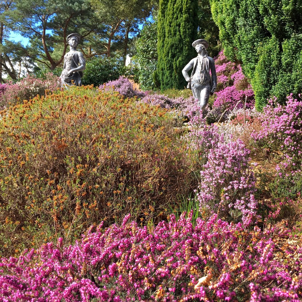A couple of statues also enjoying the heather at Compton Acres