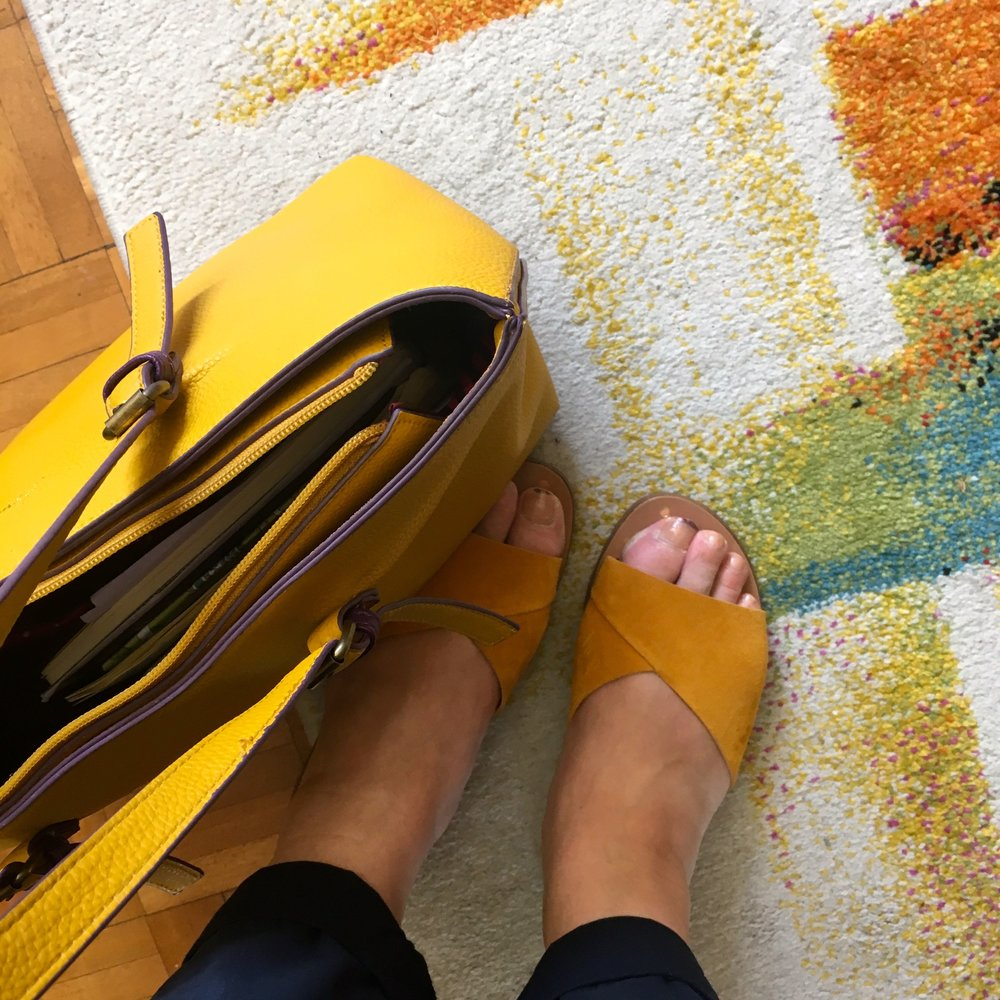 AS THE SUN WAS OUT, SO WAS MY YELLOW BAG AND NEW SHOES