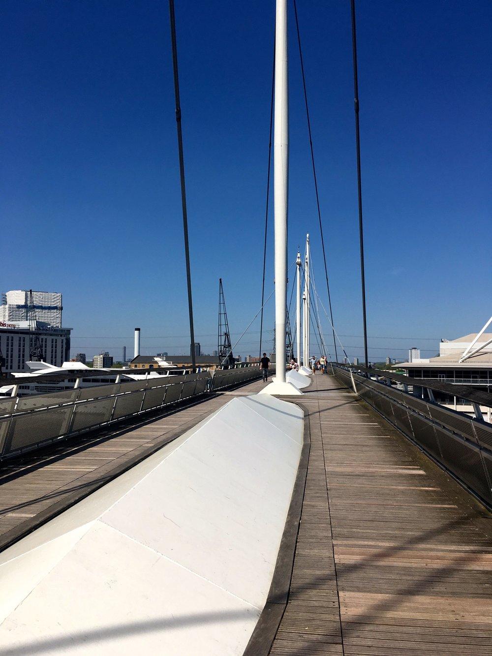 Walking across the bridge to the Excel