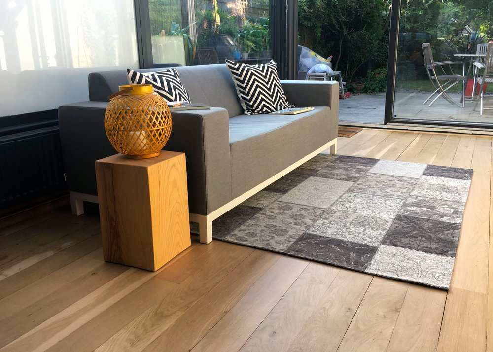 A glimpse at our new look conservatory with its new patchwork chenille rug