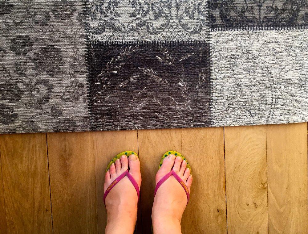 Admiring my new patchwork chenille rug from Bestatflooring