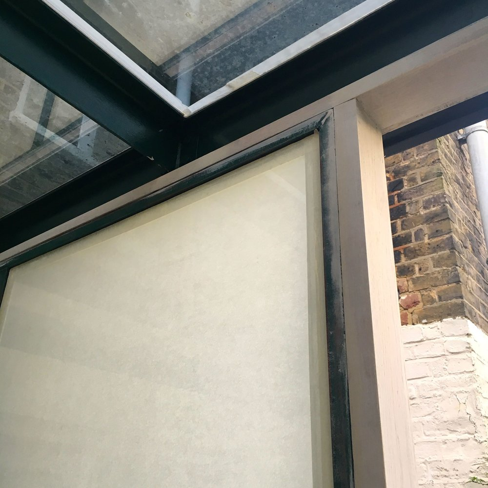 Angles of the remaining conservatory window and roof