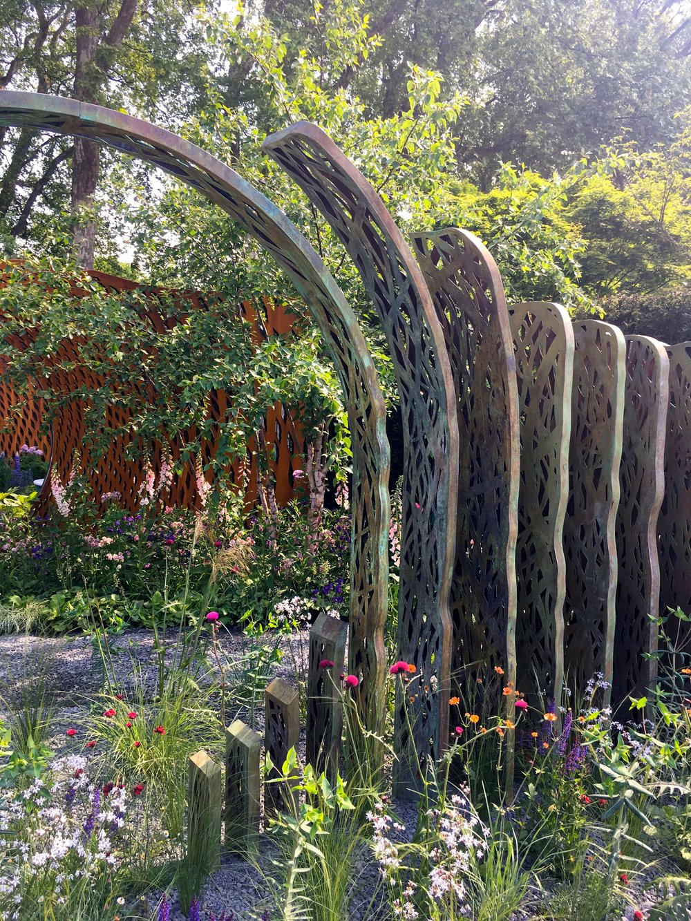 Impressive structures in this show garden designed by Nic Howard