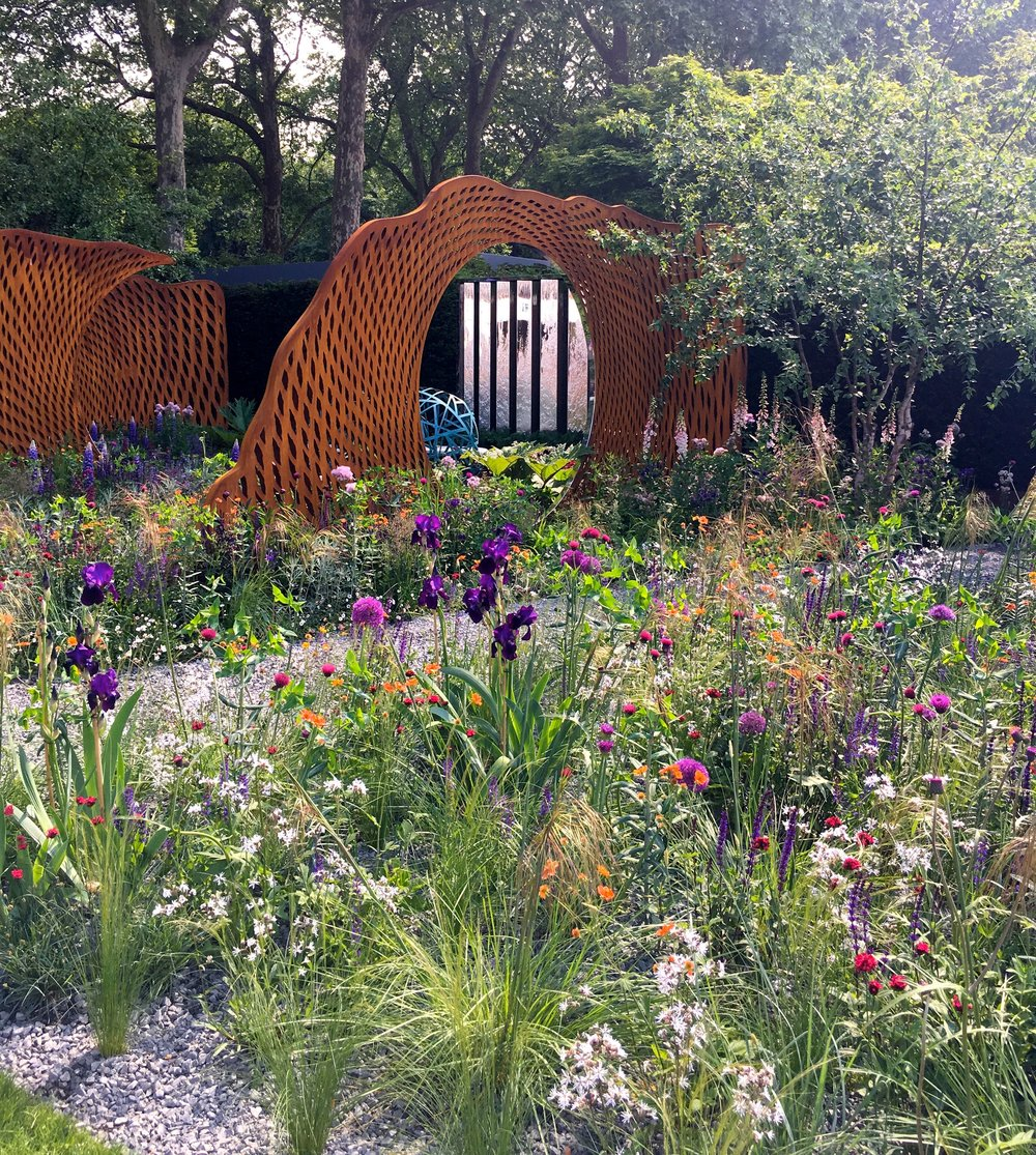 Corten steel structures and colourful planting