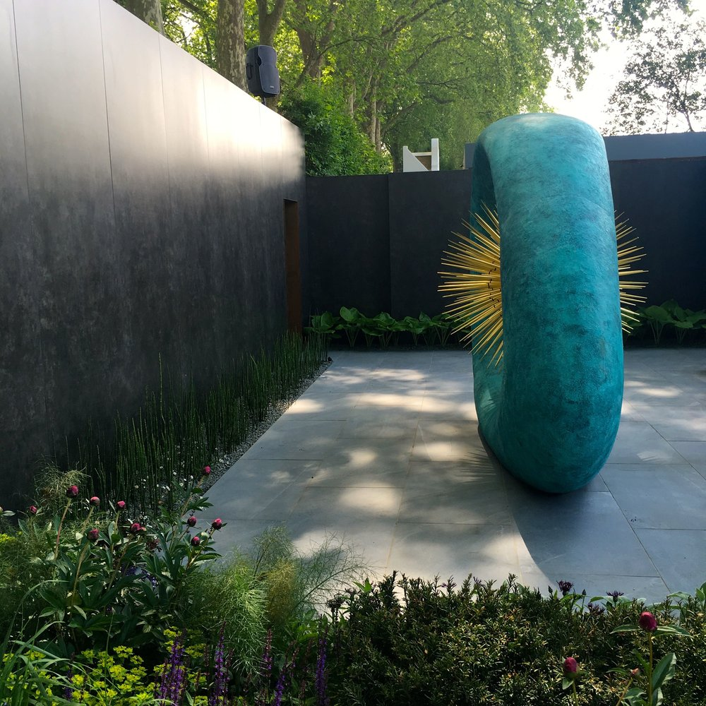 The structure at the end of the David Harber and Savills garden at the 2018 Chelsea Flower Show