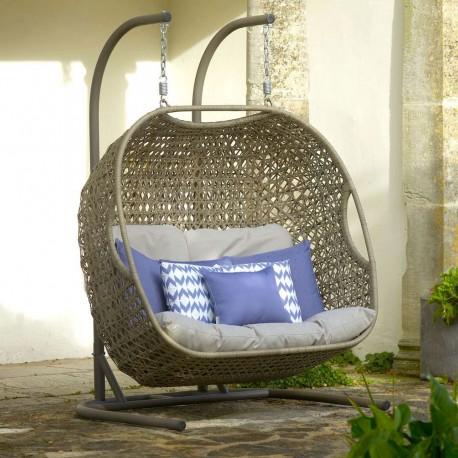 BRAMBLECREST OAKRIDGE DOUBLE HANGING COCOON  Photo credit: The Garden Furniture & Interiors Co