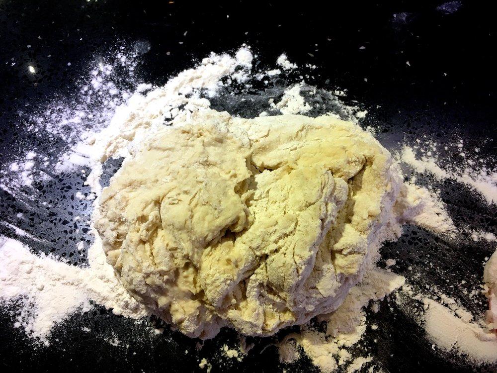 focaccia dough before kneading