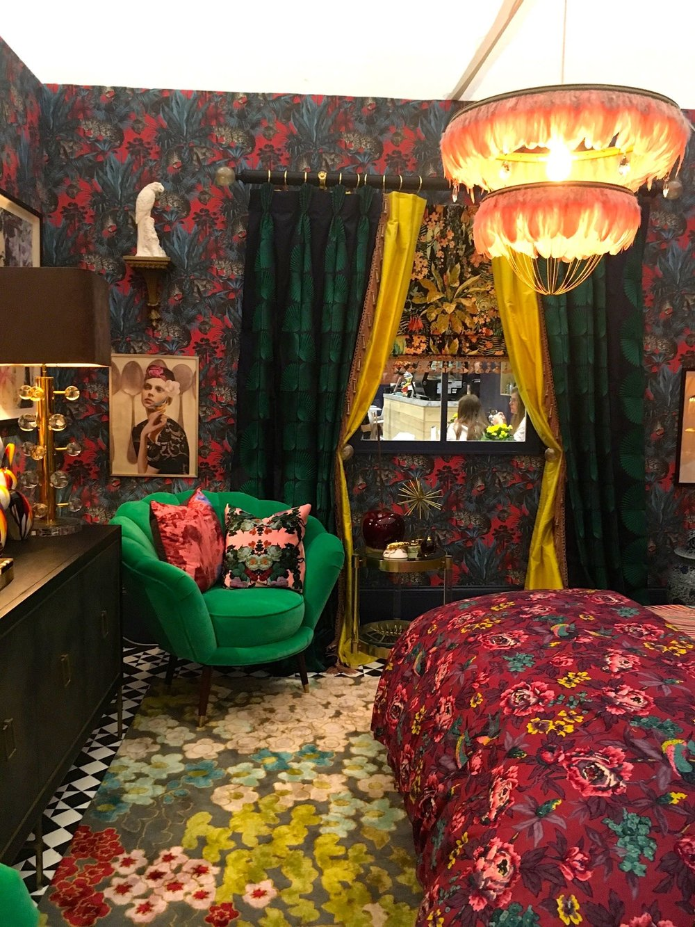 Patterns everywhere you look in this bedroom room set at Grand Designs Live