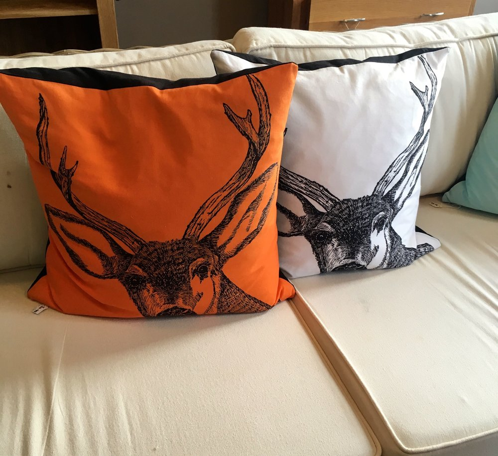 The orange stag cushion came home with us