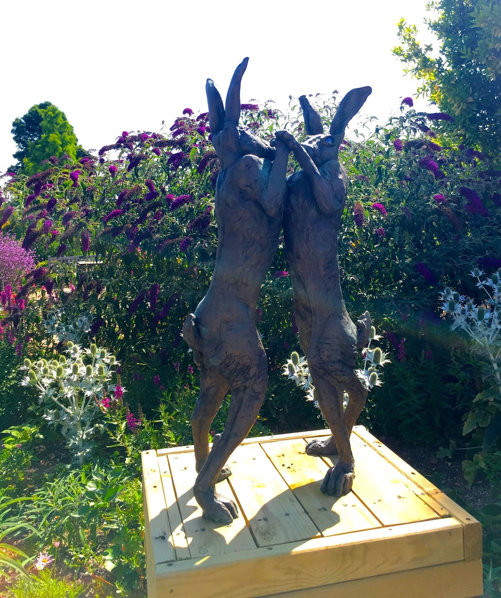 Boxing Hares by Sue Lamb at RHS Hyde Hall