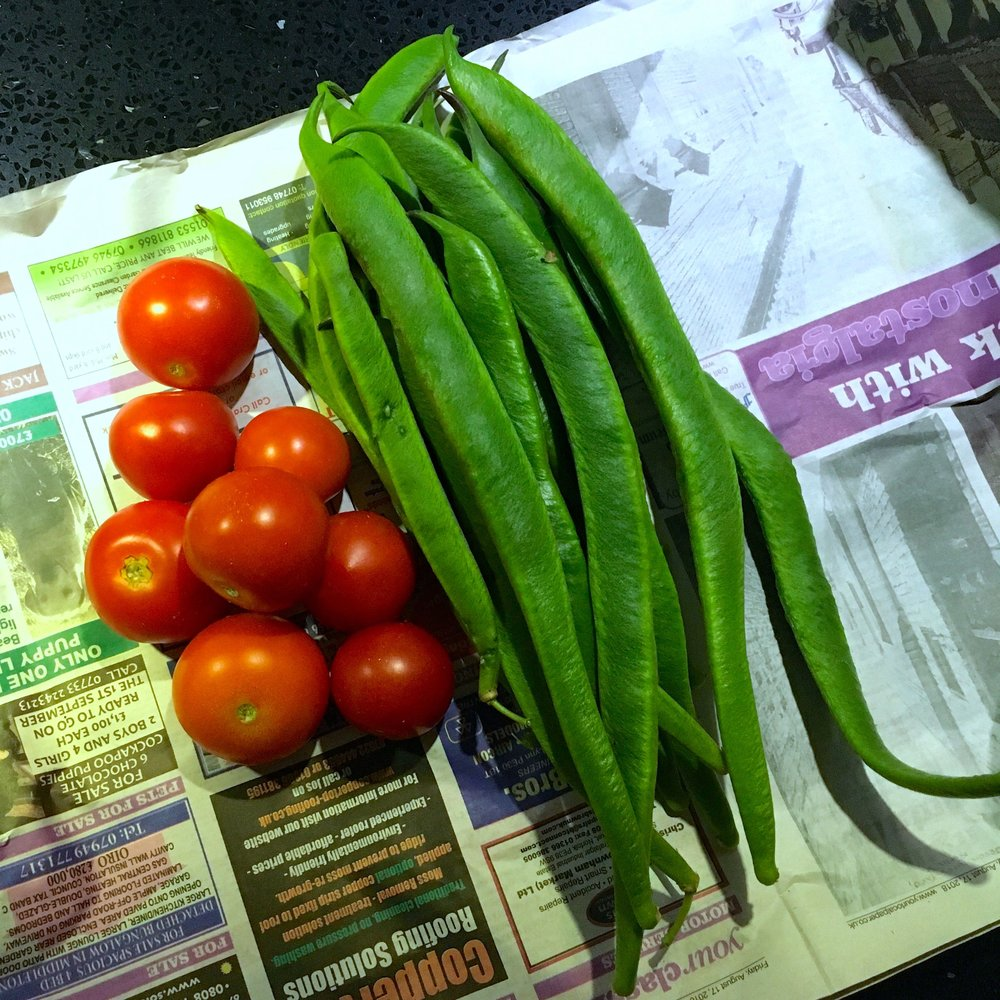 dad's home grown tomatoes and runner beans