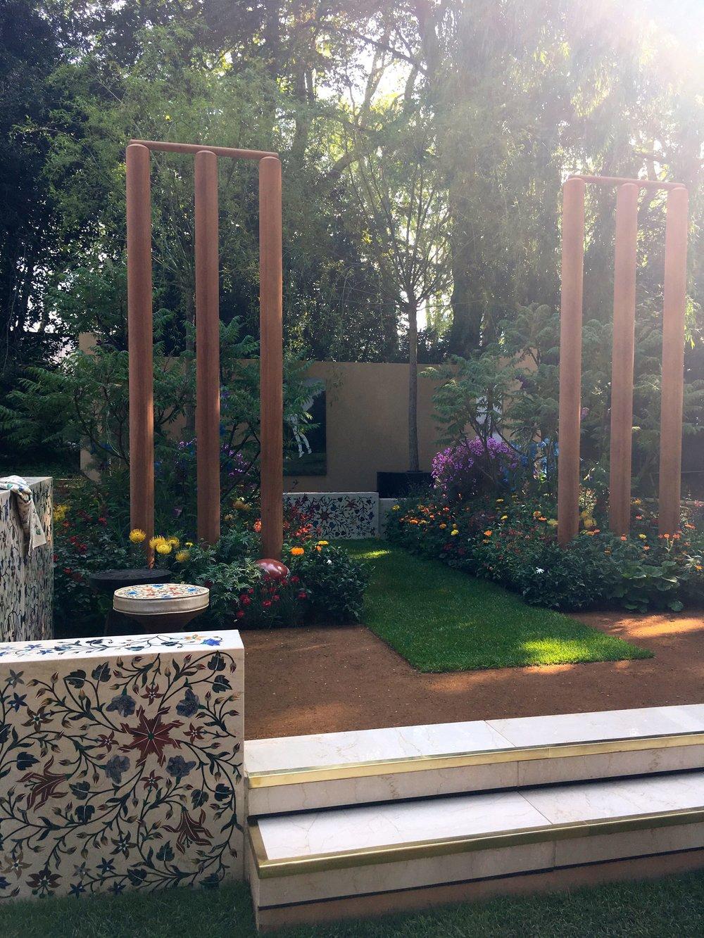 giant cricket stumps in this Chelsea Flower show artisan garden
