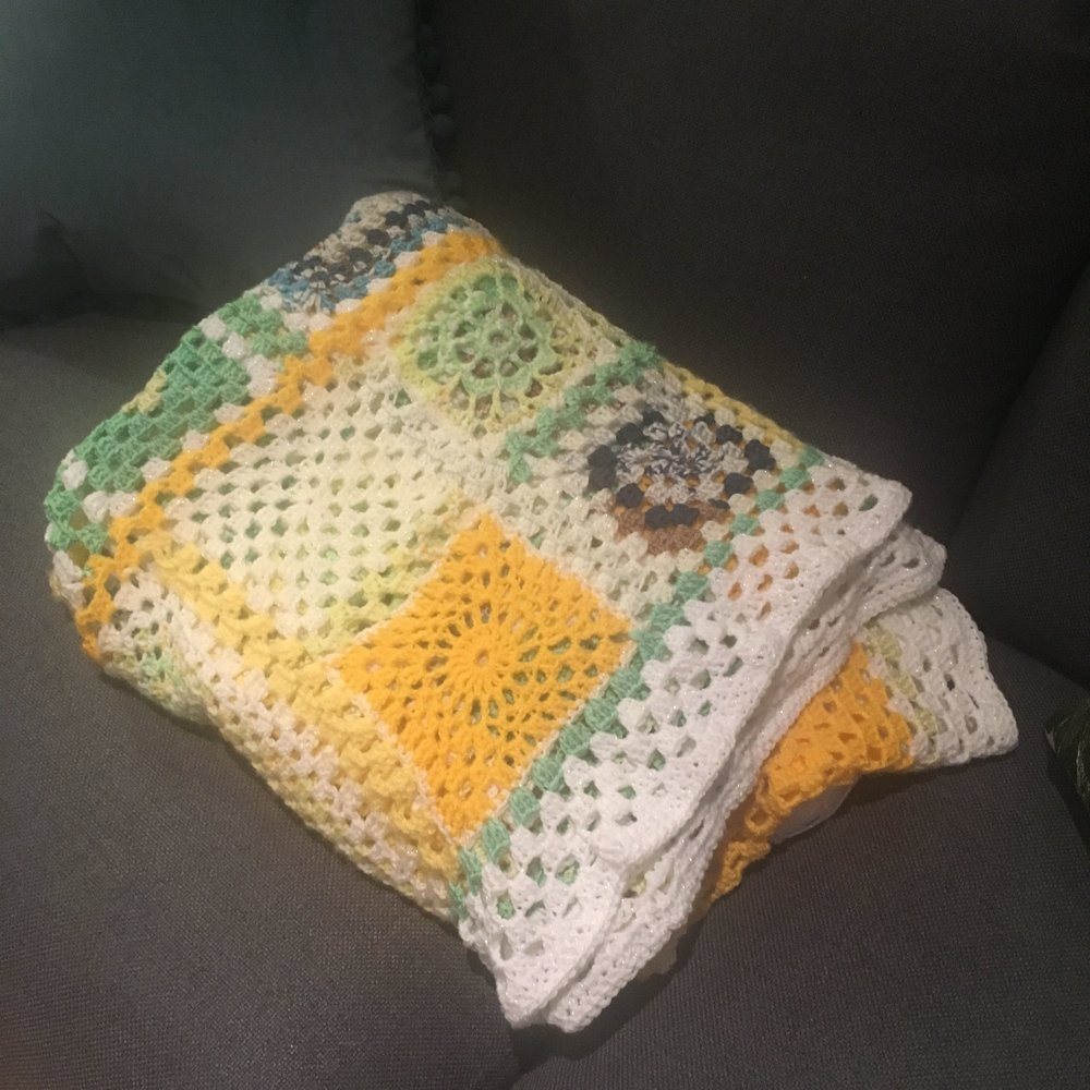 completed spring crochet throw