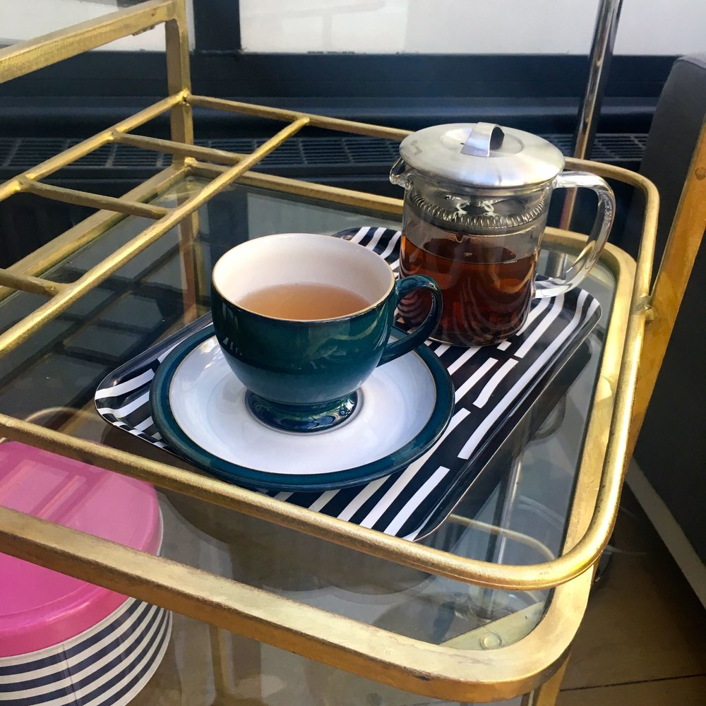 posh tea on our drinks trolley