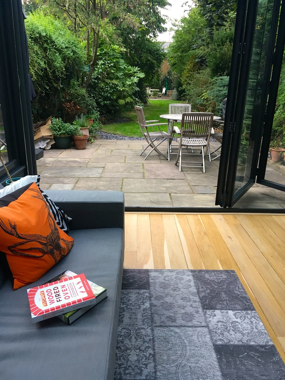 external bifold doors and view to the garden