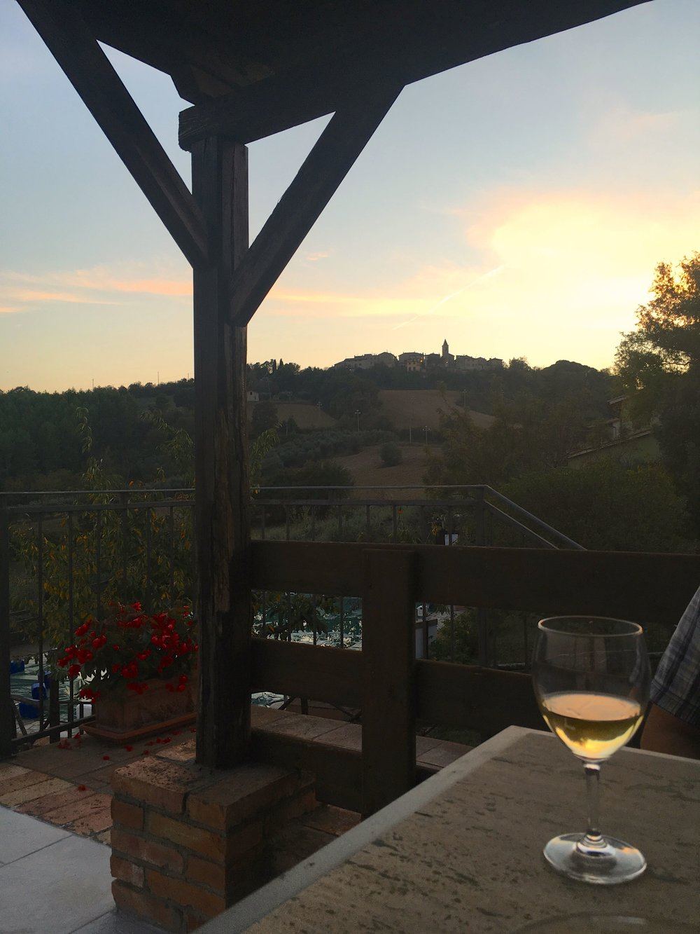wine on the terrace at sunset