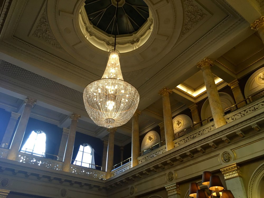 The chandelier in the reception at the grosvenor