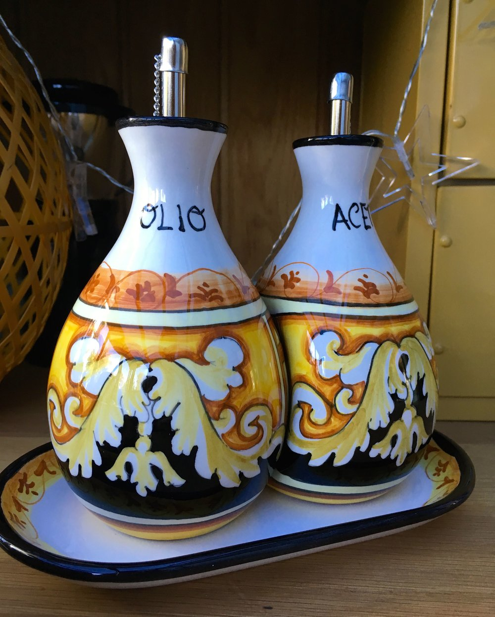 the ceramic oil and vinegar bottles