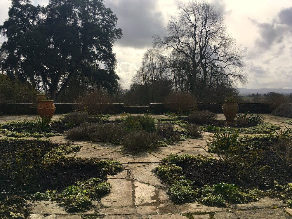 A moody and grey sky from the Dutch garden at Hestercombe