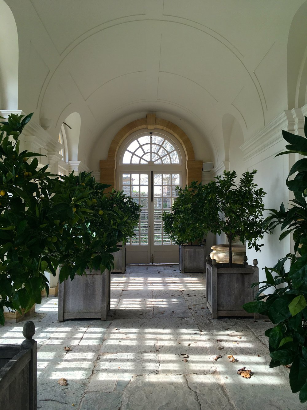 heading inside the orangery