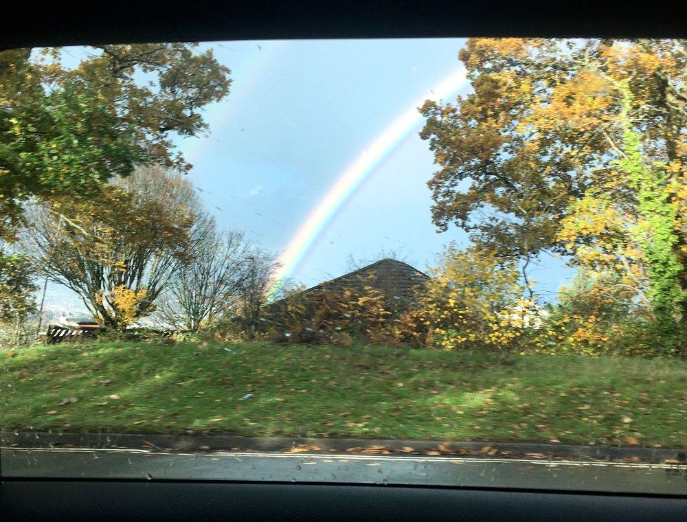 A rainbow snapped through the car window