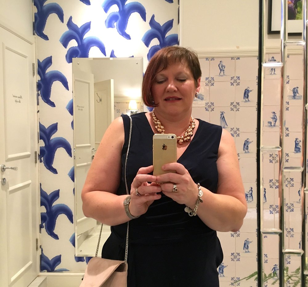 CHECKING OUT  THE LOOS AT GRAVETYE MANOR , STILL PRETTY BLUE AND WHITE TILES