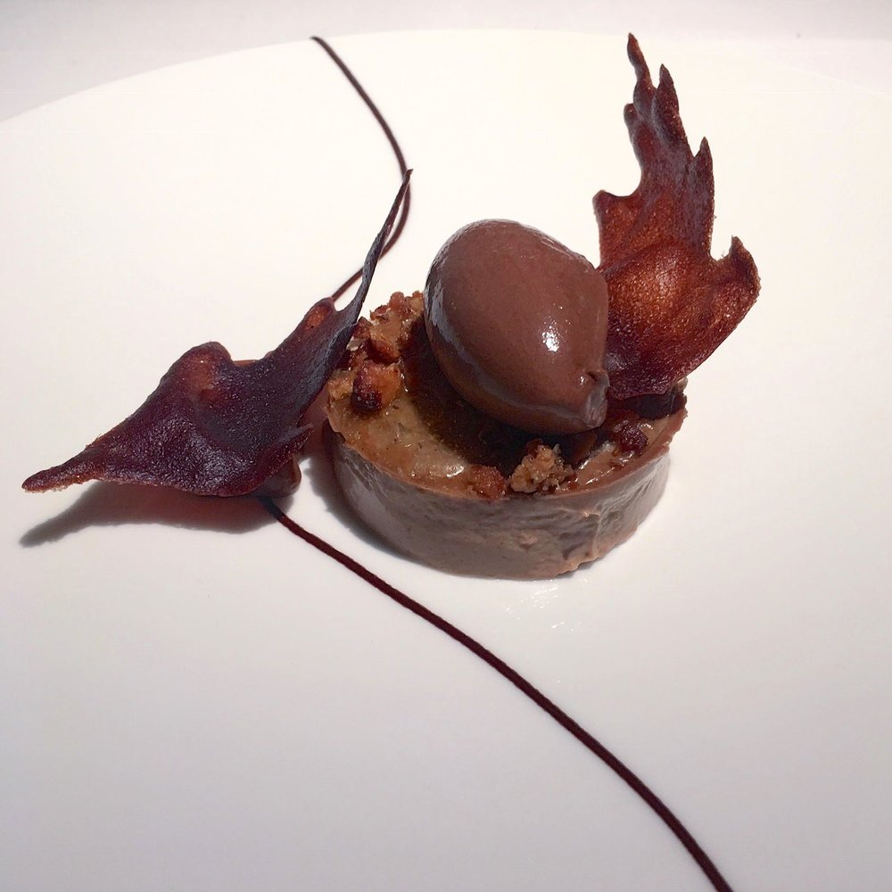 ACORN CUSTARD AND CHOCOLATE LEAVES, GRAVETYE MANOR