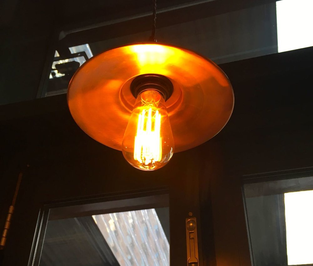 copper lights and filament bulbs