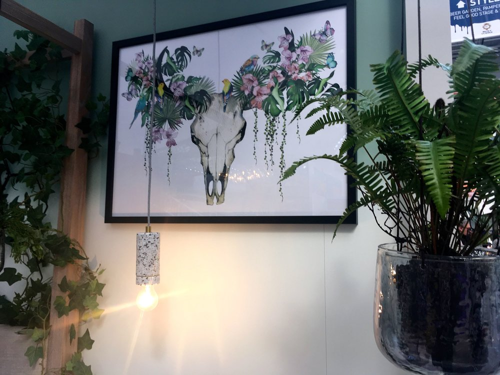 APRIL:  THOSE POM POMS IN THE BOTANICAL BEDROOM  (AND UNUSUAL ARTWORK)