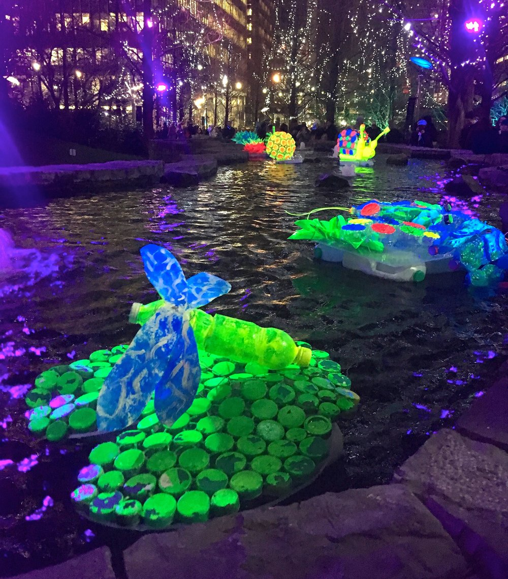 Fluorescent floating recycled bottles