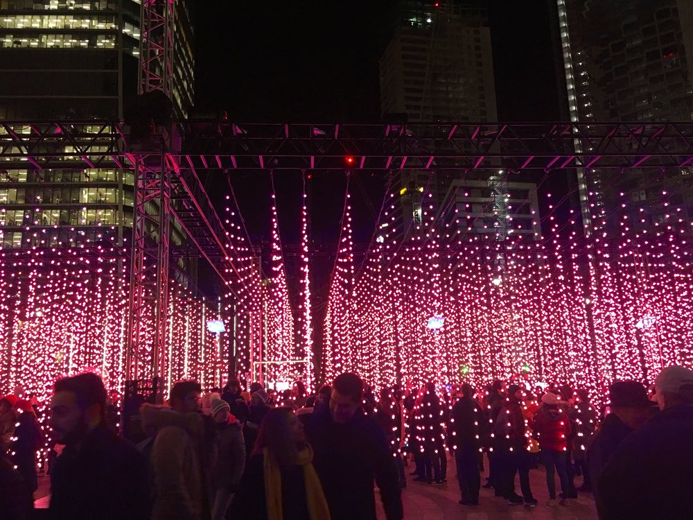 in the winter lights at canary wharf
