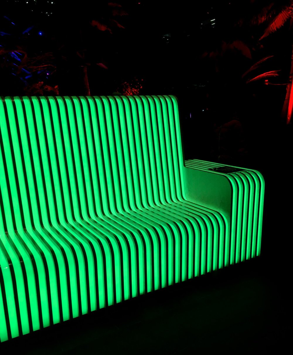 Vena Lumen  - a winter lights bench illuminated green
