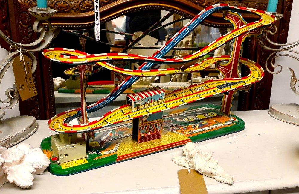 A toy car helter skelter track