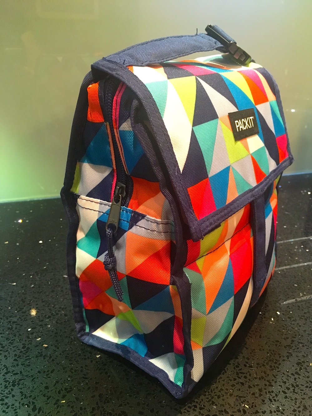 Colourful and a sideview of this sturdy cool bag