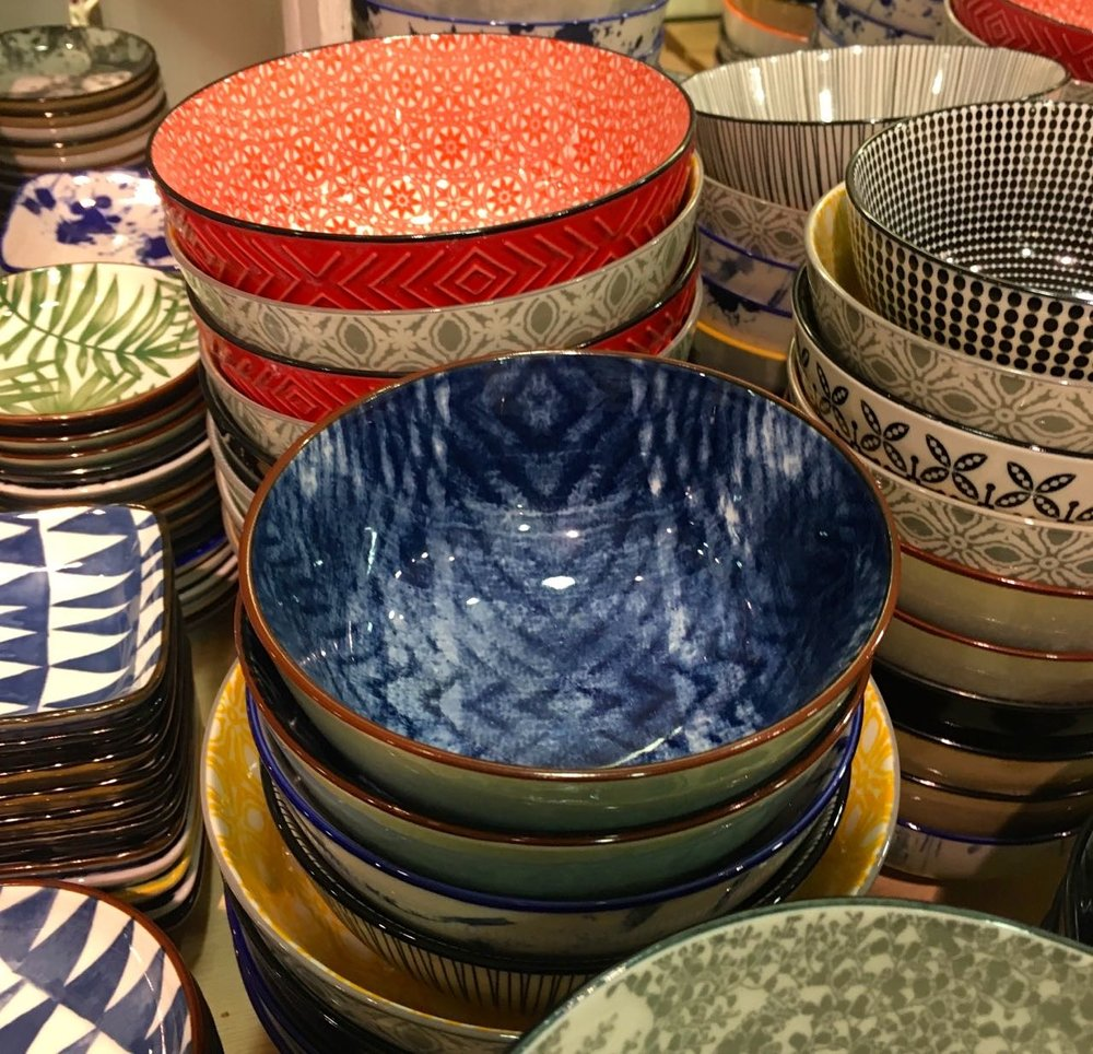 bowls of every colour and pattern in Jarrolds in Norwich