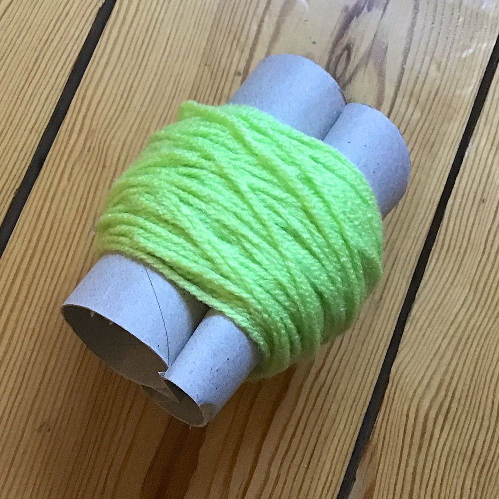 Wrap wool around two toilet roll inners
