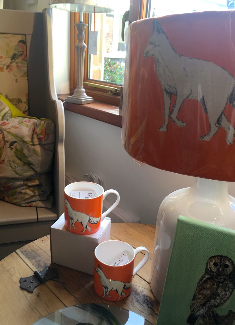 orange foxes mugs and a matching lampshade