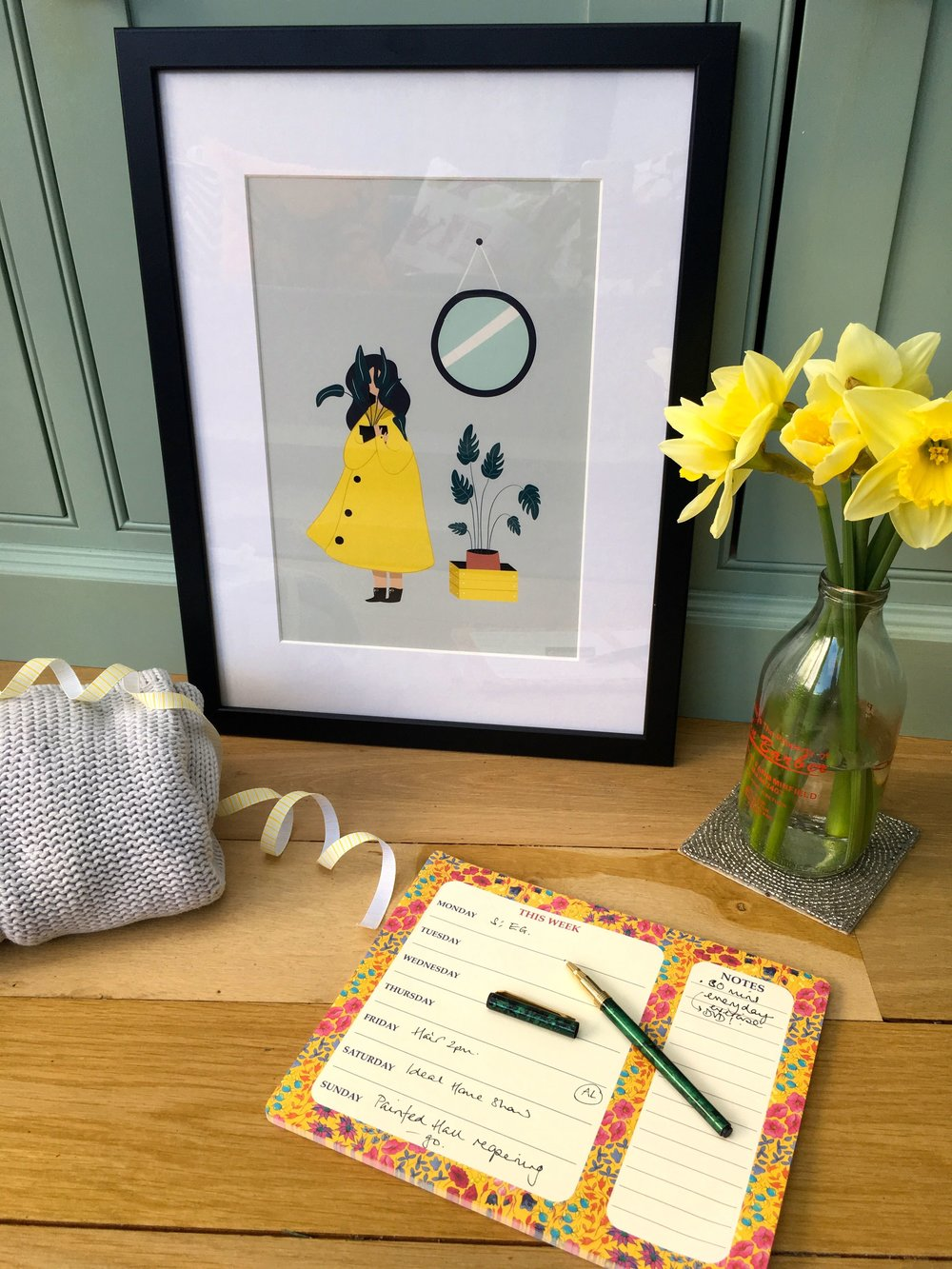 Plants, a yellow souwester and duck egg blue -  this print by Mode Prints is totally my colours
