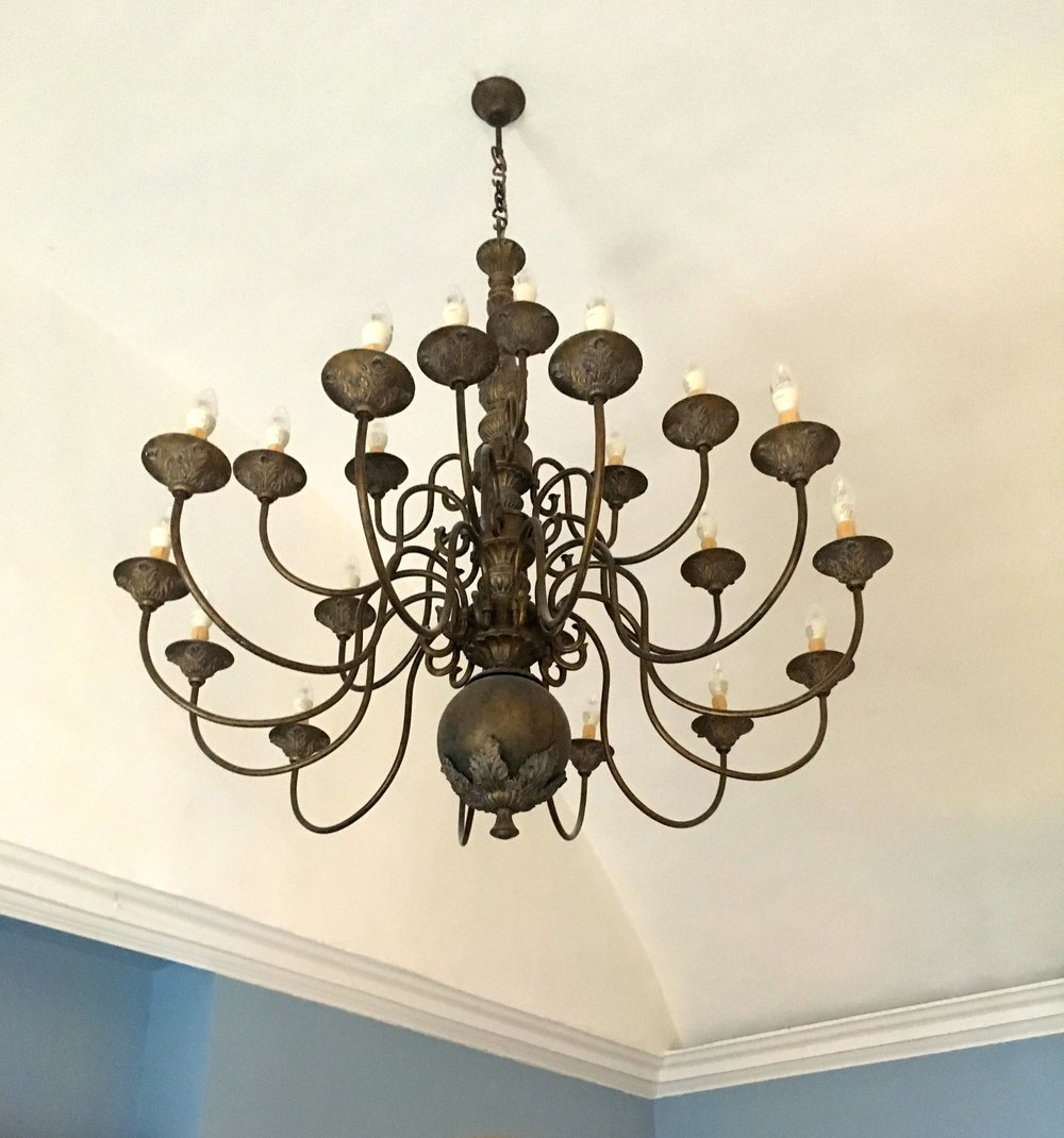 quite a chandelier in our room at the assembly house