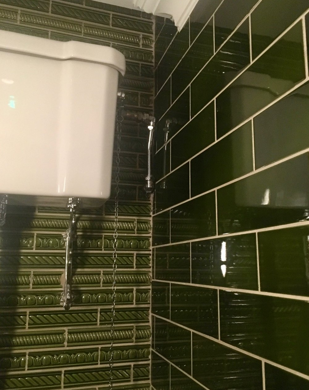 plain and patterned tiles combined in the ladies at the Social Eating House in Soho