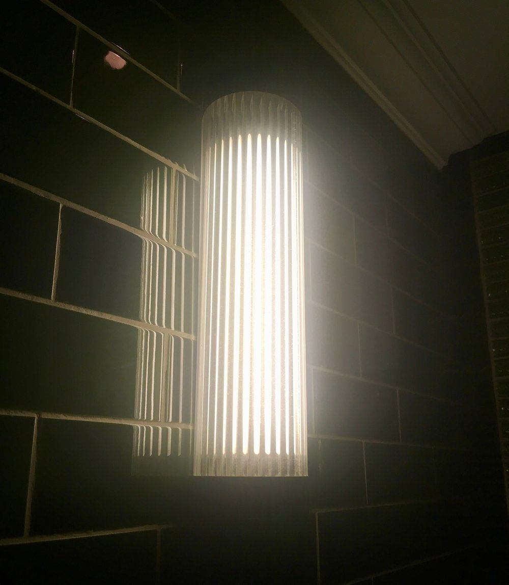 dark tiles and a ribbed light