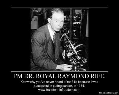 In trials - that included 16 human cancer patients - I had an 86% cure rate, in 1934, at the University of Southern California. For my success, I was professionally assassinated, my lab` was burnt down and my research - and equipment - was stolen. Why? Because my scientific breakthroughs - and technology - were going to make Big` Pharma` redundant!