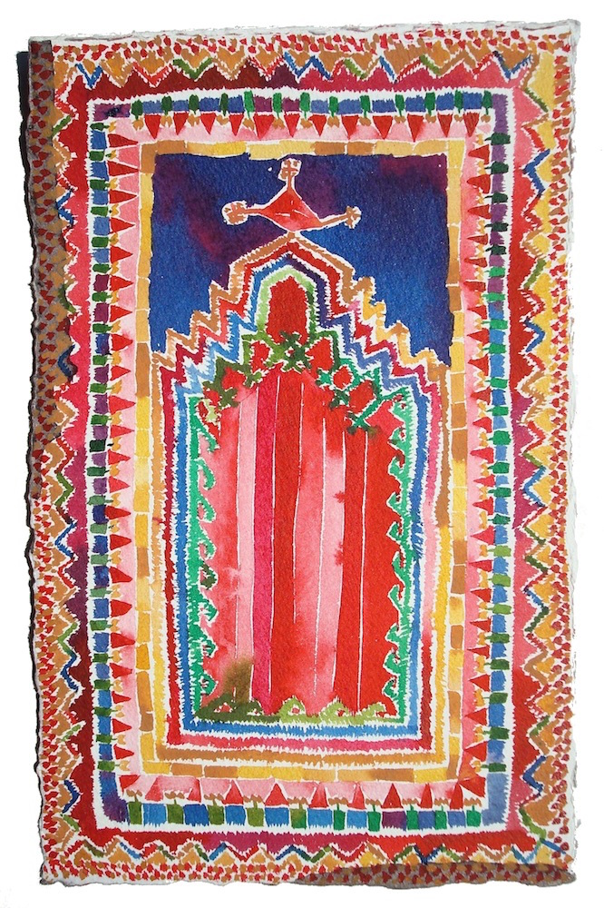 Small Kırşehir Rug, Central Turkey  11x5 inches, acrylic ink on paper, 2012