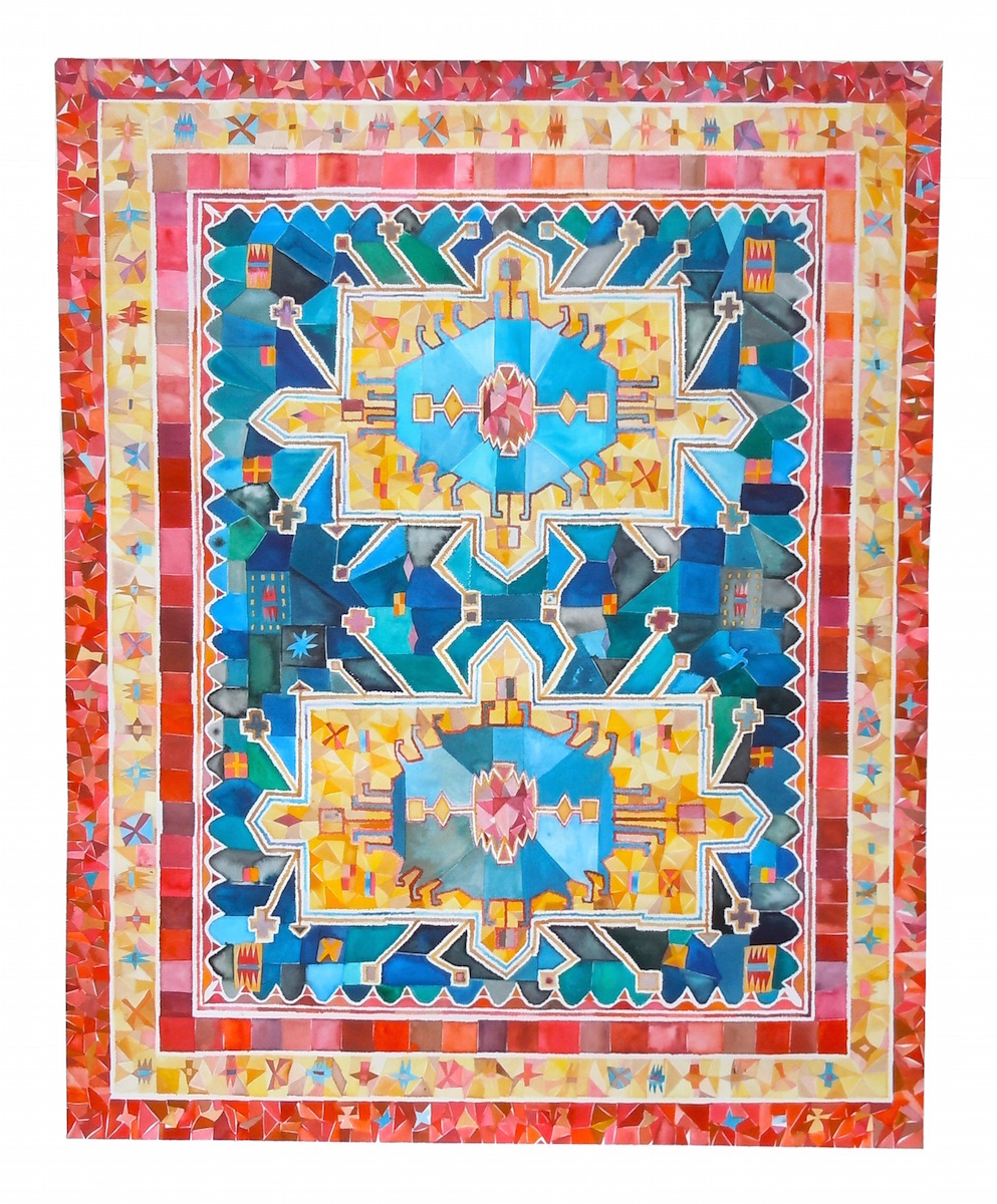 Heriz Serapi Rug, Iran 53x42 inches, acrylic ink on paper, 2012