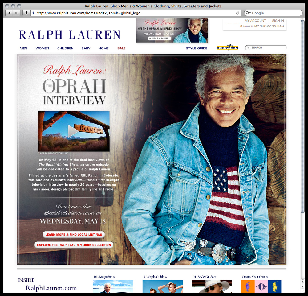 .com page designs, email campaigns, and other graphics for  Ralph Lauren , where I worked in-house as an Interactive Designer from January – June 2011
