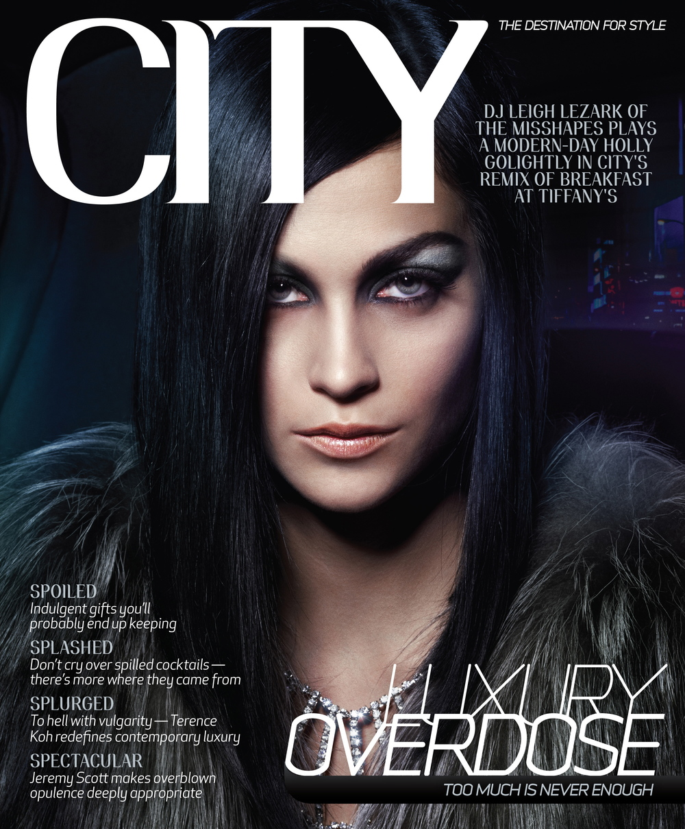 "Covers, Fashion Editorials, Features, and Front-of-Book editorial pages for CITY throughout 2007 – 2009 in its prior format of 9 x 10.875"" pages.   As the Art Director, I was given the opportunity to redesign the magazine in addition to being responsible for monthly page layouts, custom type treatments and the sequencing of images."