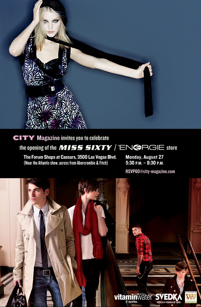 Miss Sixty / Energie store opening event invitation. 2007.