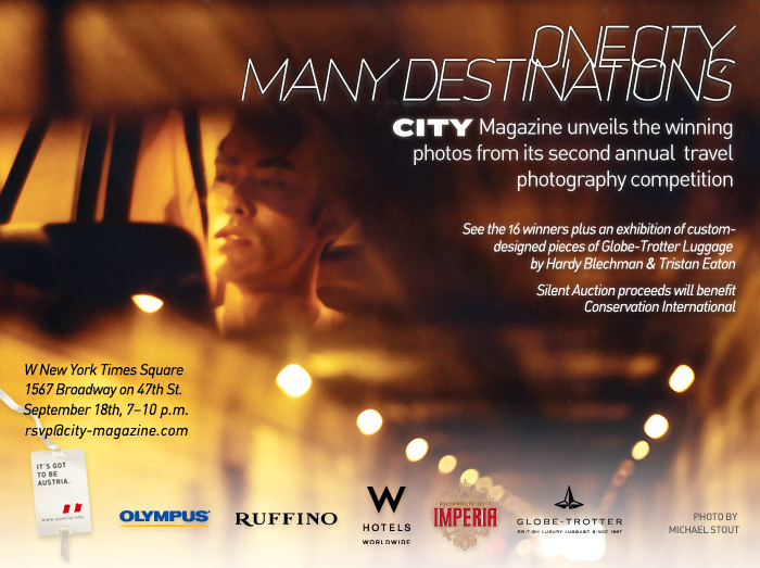 One City, Many Destinations photo contest NYC event invitation. 2008.