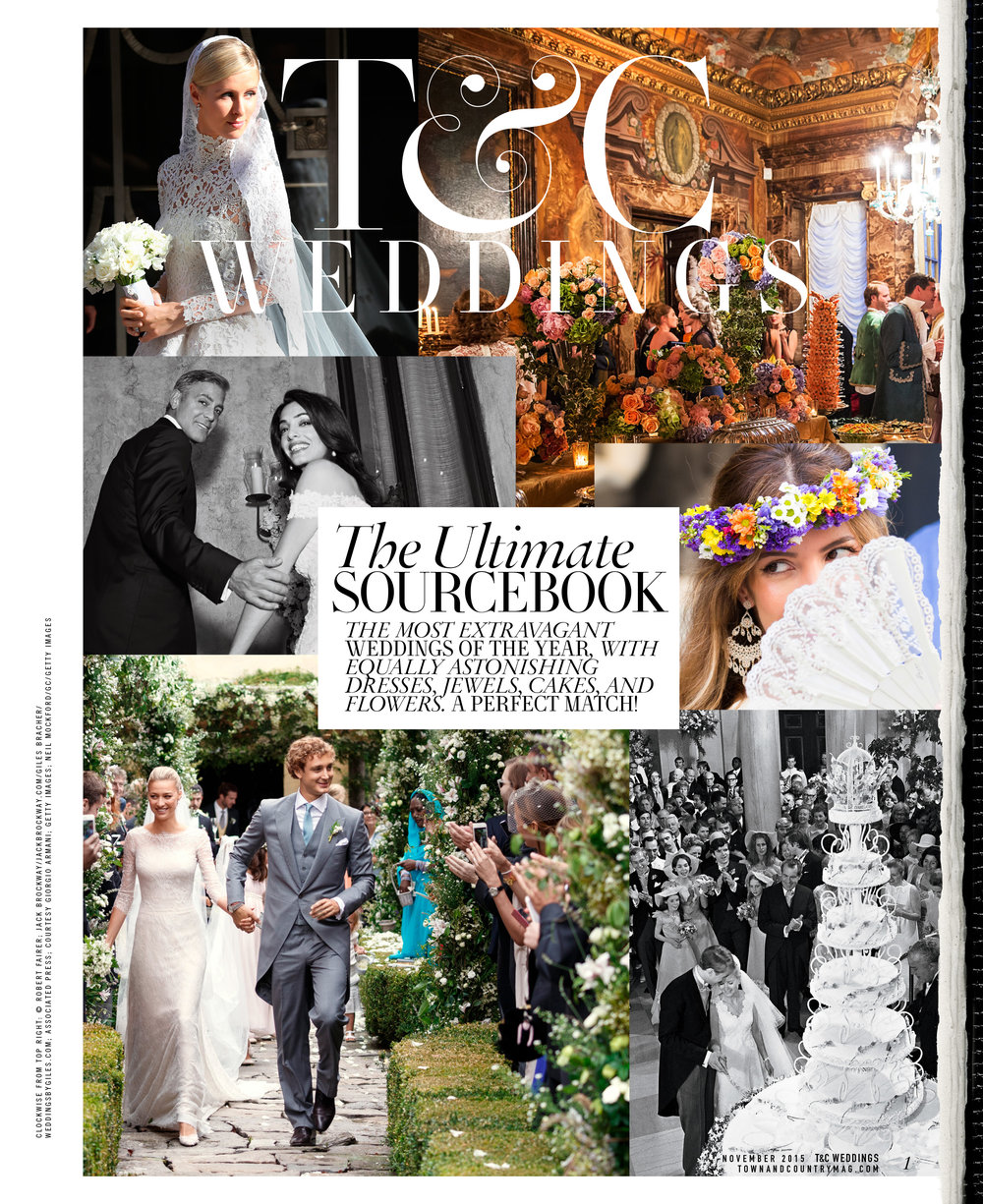 Pages from select Weddings packages (that are bound into copies of the magazine) designed for   Town&Country  .